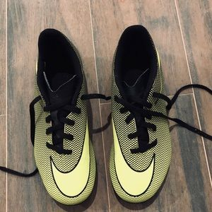 Nike lime green and black soccer cleats